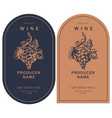 two wine labels with hand-drawn bunch grapes vector image