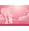 Valentines day background Couple standing vector image