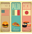 Vintage Menu Card for Fast Food vector image