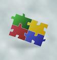Vintage set colorful puzzle pieces vector image vector image