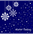 winter celebration postcard with white snowflakes vector image