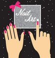 woman hand with pink fingernails on silver vector image vector image