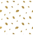Gold glitter autumn leaves seamless pattern vector image