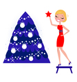 decorating the christmas tree vector image