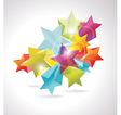 3d glass stars vector image vector image