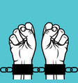 arrested man hand and hand cuffs vector image