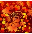 Autumn card with oval frame space for text vector image
