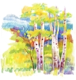 Autumn forest felt-tip pen vector image vector image