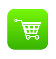 basket on wheels icon digital green vector image vector image