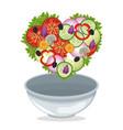 bowl salad vegetables shape heart diet vector image