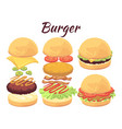 burgers isolated on white background cartoon fast vector image