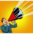 Businessman agitator with a megaphone pipe vector image