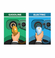 car refuel gasoline and electric comparison vector image vector image