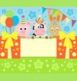 cartoon background card with funny animals vector image vector image