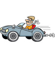 Cartoon man driving a car vector image vector image