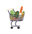 cartoon trolley with healthy food flat vector image