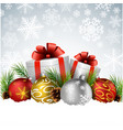 christmas balls with gift pine cone on the snow vector image vector image