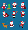 cute cartoon santa claus set christmas vector image