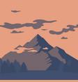 flat mountain landscape silhouette vector image vector image