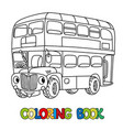 funny small london bus with eyes coloring book vector image