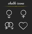gender symbols chalk icons set vector image