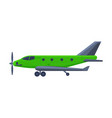 green airplane with propeller flying aircraft vector image vector image