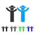 hands up gentlemen flat icon vector image vector image