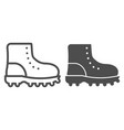 hiking boots line and glyph icon footwear vector image vector image
