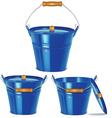 Metal blue buckets vector image