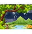 naure storm camping scene vector image