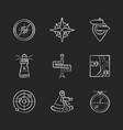 navigation chalk white icons set on black vector image