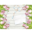 Paper card with tulips EPS 10 vector image vector image