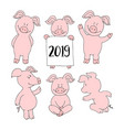 pig collection set set banner happy new year vector image vector image