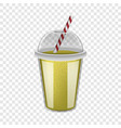 plastic cup yellow smoothie mockup realistic vector image