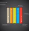 Rectangle template consists of five color parts on vector image vector image