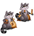 rich raccoon holds gold coins isolated on white vector image