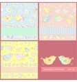 set seamless patterns with cartoon birds vector image vector image
