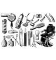 set vintage barbershop emblems labels badges vector image vector image