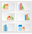 Six banners with colored houses and skyscrapers vector image
