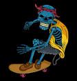 skateboard skull vector image vector image
