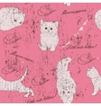 Vintage seamless texture with kittens vector image vector image