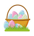 wicker basket happy easter eggs vector image vector image