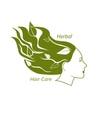 Woman head with wavy hair and leaves in it vector image vector image