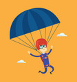 young happy man flying with parachute vector image vector image