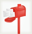 Red classic mailbox with mail vector image