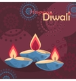 Three burning diya on Diwali Holiday background vector image