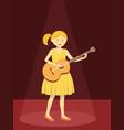 girl play guitar on red spotlight vector image
