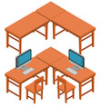 3d design for tables and chairs vector image vector image