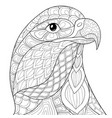 adult coloring bookpage a head eagle image vector image