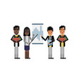 african and asian business team doing presentation vector image